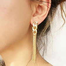 Retro Women Gold Plated Long Chunky Chain Earrings Tassel Chain Earrings Stud