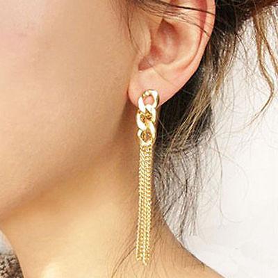 Retro Women Gold Plated Long Chunky Chain Earrings Tassel Chain Earrings Stud