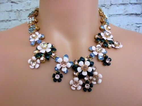 AUTHENTIC J CREW STACKED FLORAL STATEMENT NECKLACE #F8940 SOFT BOLSSOM NEW