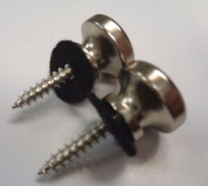 NICKEL OVERSIZED STRAP BUTTONS FOR GUITAR /& BASS 2 W// SCREWS 17MM LARGE *NEW*