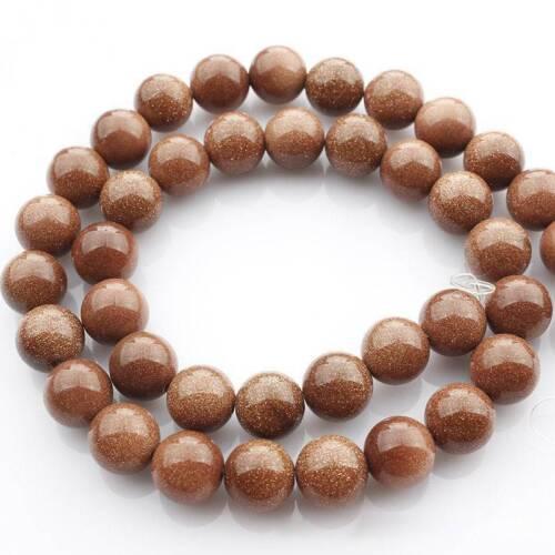 "Wholesale 15/"" Naturel Goldstone Gemstone Round Beads À faire soi-même Jewelry Making 4 ~ 10 mm"