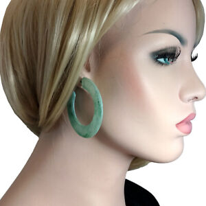 """Earrings Hoop Big Bold Statement Wide Clear Lucite Marbled Patina Green 2 1/4"""""""