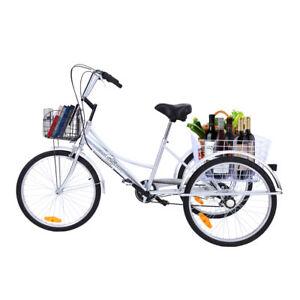 silber 24 dreirad bike 3 r der fahrrad 6 g nge mit 2 k rben shopping tricycle ebay. Black Bedroom Furniture Sets. Home Design Ideas