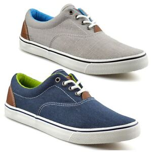 Mens-Casual-Flat-Lace-Up-Canvas-Skate-Pumps-Walking-Plimsolls-Trainers-Shoe-Size