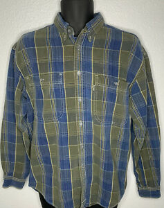 Vintage-1995-Levis-Flannel-Button-Down-Shirt-Shadow-Plaid-Green-blue-Size-Small