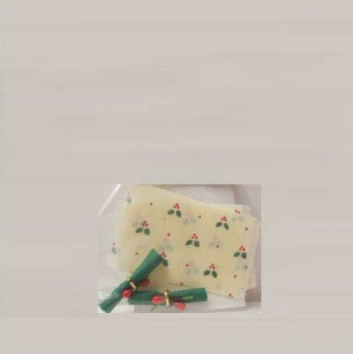 Christmas Place Mats Napkins Doll House Shoppe Holly//Cream DHS4828 Miniature