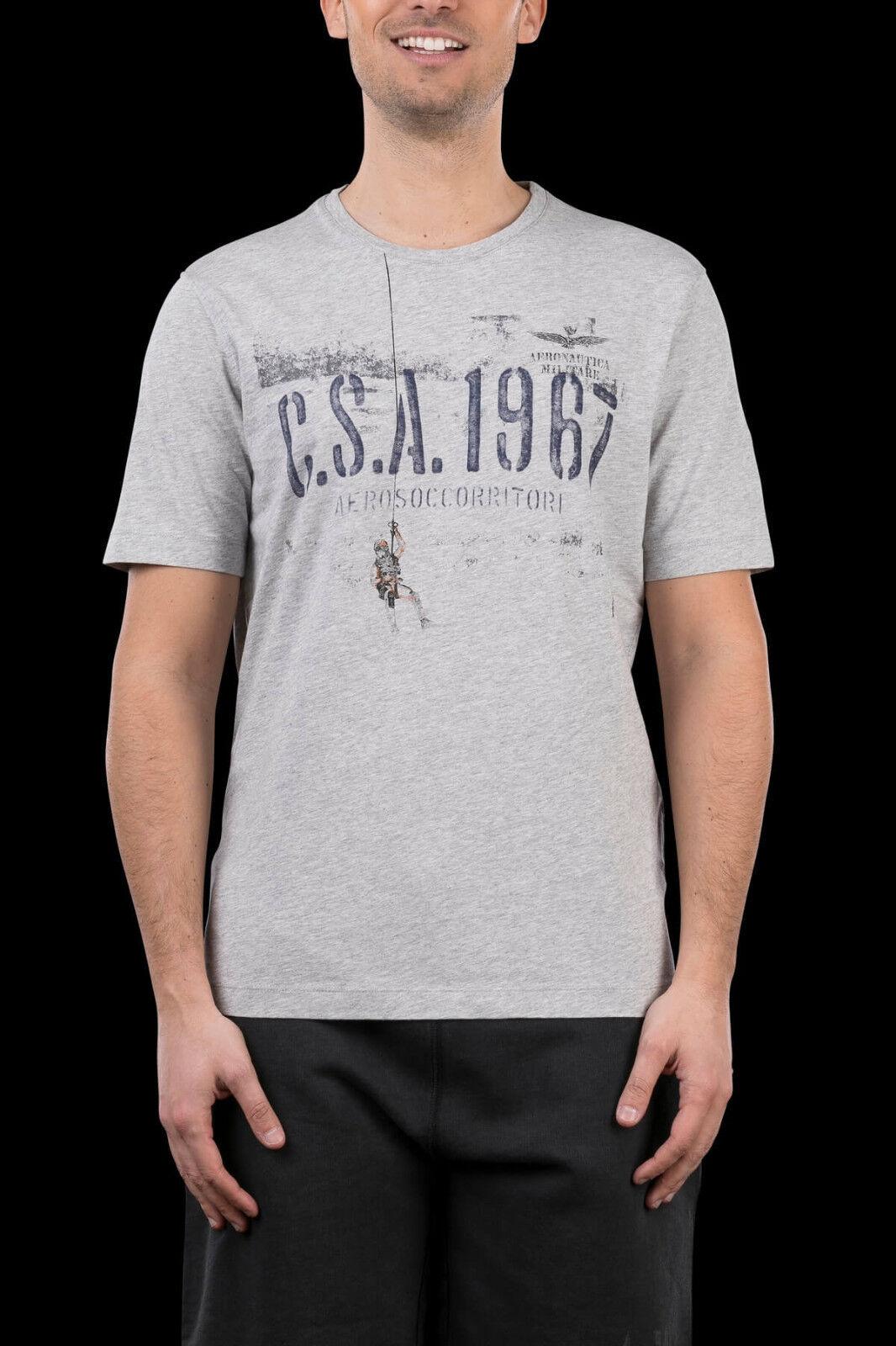 T-shirt Uomo AERONAUTICA MILITARE TS1508 Tricolorei Maglia Cotone Grigia NUOVA
