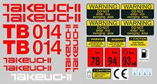 Takeuchi tb014 Mini Escavatore decalcomania Set