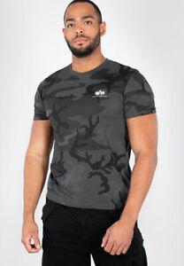 Alpha Industries T-Shirt Basic Small Logo Black Camouflage