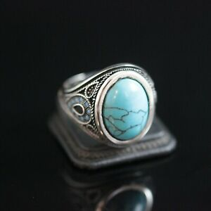 925 Sterlingsilber Handmade Edelstein Turkish Türkis Herren Ringgröße