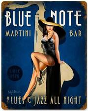Pin Up Girl Blue Note Martini Bules Jazz Bar Metal Sign Man Cave Den Club RB068