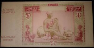 RARE-MULTI-COLOR-1945-UNCIRC-BELGIAN-CONGO-50-FRANC-LOTTERY-NOTE-cv-200-6-034-WIDE