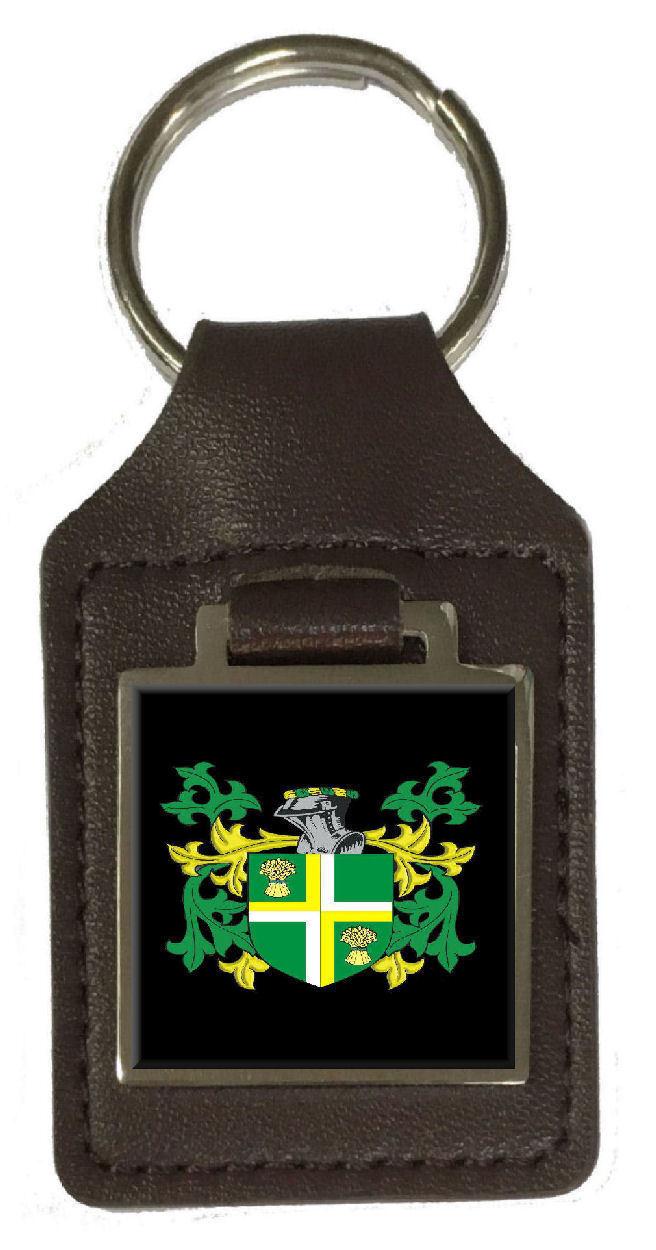 Krause Familie Wappen Familienname Braunes Leder Schlüsselanhänger Graviert | Grüne, neue Technologie