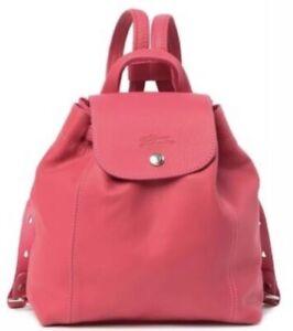 """Longchamp Le Pliage """"Sac A Dos"""" Mini CR Leather Backpack Rose NWT ..."""