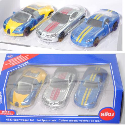 Siku 6323 Geschenkset Sportwagen Bugatti Veyron MB SLR McLaren Dodge Viper