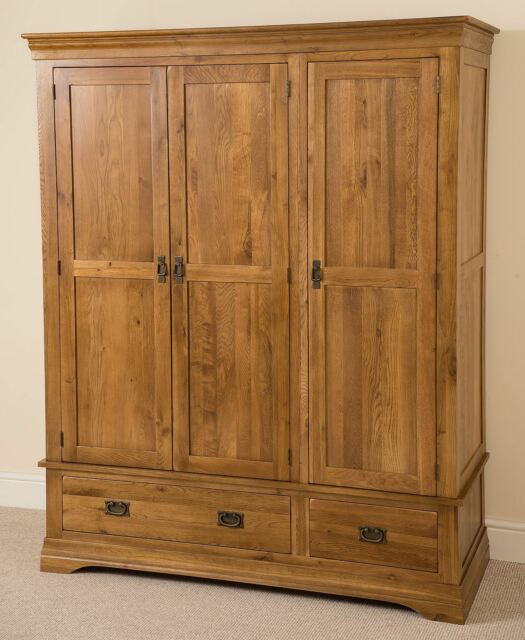 French Rustic Solid Oak Wood 3 Door 2 Drawer Triple Wardrobe Bedroom