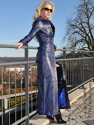 Ledermantel Leder Mantel Blau Bodenlang Figurbetont Größe 32 - 58 XS - XXXL