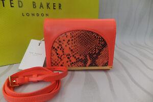 Ted Panel Zellar Rrp Bnwt Snake £119 Ladies Baker Genuine Bag Mini Coral Clutch wrqpXr1txS