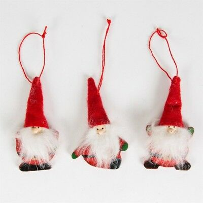 Three Red Felt Santa / Father Christmas Hanging Decorations with Fluffy Beard