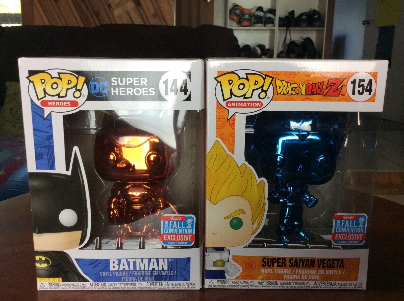 Funko Super Saiyan Vegeta bluee Chrome, Batman orange Chrome Bundle Pop  NYCC