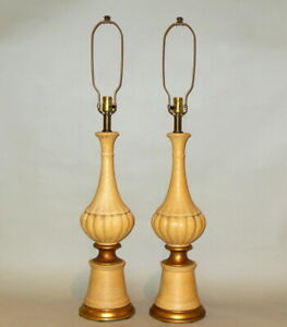 Pair-Mid-Century-Modern-Textured-Ceramic-Yellow-Pottery-Lamps-Hollywood-Regency