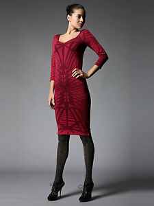 VERY-RARE-ZAC-POSEN-for-WOLFORD-034-Three-Quarter-Sleeve-Shadow-Dress-034-ROBE
