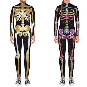 3D-Skelett-Kostuem-Madchen-Jungen-Kinder-Party-Fasching-Karneval-Jumpsuit-Overall