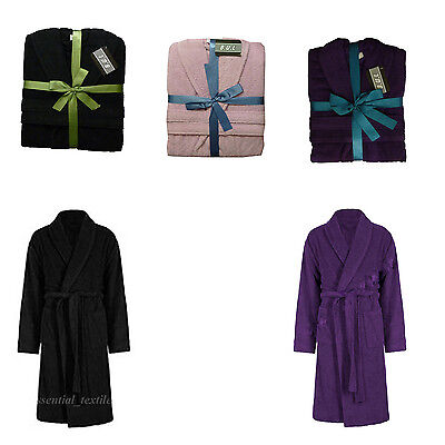 Unisex 100 % Cotton Terry Towelling Shawl Collar Bathrobe Dressing Gift Set