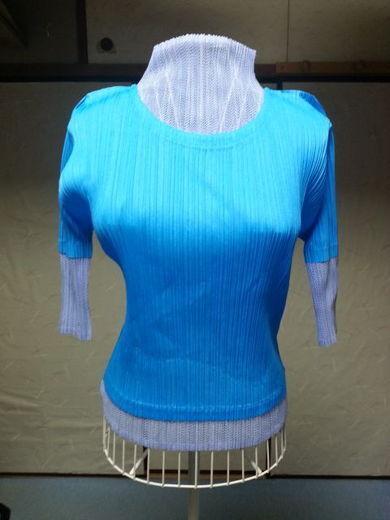 Cyan Hyacinth Long Sleeve Design Tops PLEATS PLEASE VG