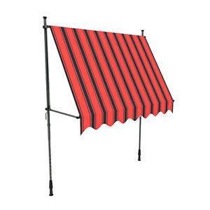 Markise-Balkon-Klemmmarkise-Sonnenschutz-195x120cm-Orange-ohne-Bohren-B-Ware