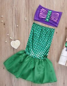 48dac68ea8 Little Mermaid Disney Ariel Tail Girl Fancy Dress Up Bikini Set Swim ...