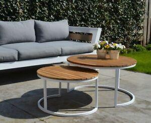 Detalles De 2er Juego De Jardín Lounge Terraza Mesas Furgoneta Redondo Aluminio Teca