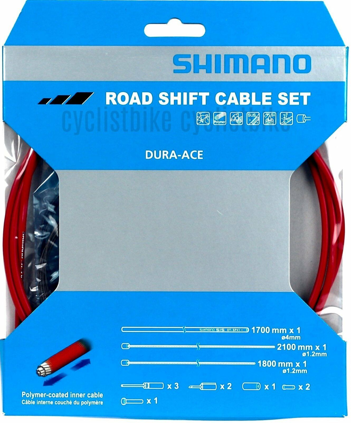 Shimano Road Dura Ace Red SP41 Poly-Coated Shift Cable and Housing Set Y63Z98930