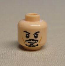 NEW Lego Minifig Head FLESH Dual Sided Black Moustache Smiling / Scared Pattern