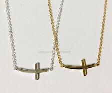 "Sterling Silver PLAIN CURVE SIDE WAY CROSS Pendant Necklace 16"" + 1"" + 1"" - 925"