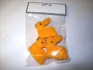 Mini-Orange-Flocked-Bunny-Figures-Set-of-3