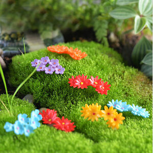 Image Is Loading 2X Colorful Miniature Plastic Moss Flower Fairy Garden