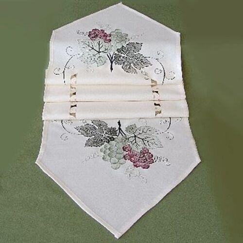 Tischdecke Mitteldecke Tischläufer Hohlsaum Stickerei Blätter Weintrauben Wein
