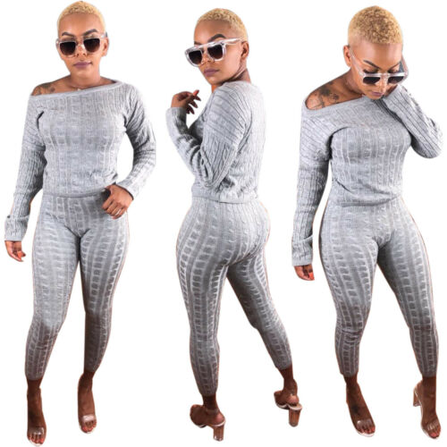Fashion Women Fall /& Winter Long Sleeves Knit Casual Loose Outfits Jumpsuits 2pc