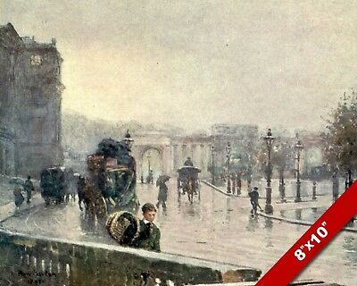 VIEW OF HYDE PARK IN EARLY 1900/'S OLD LONDON ENGLAND UK REAL CANVAS PRINT