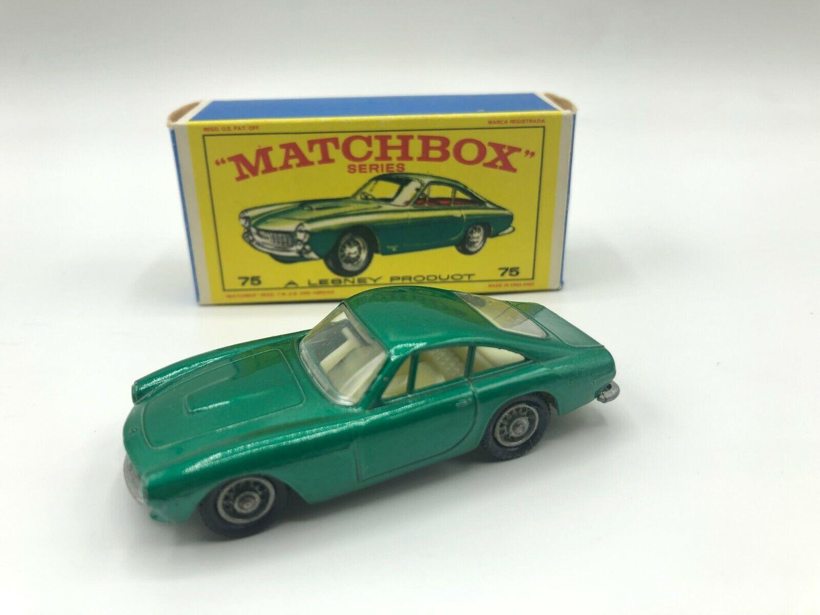 Matchbox Lesney 75 Ferrari Berlinetta verde En Caja Original, Ruedas De Alambre
