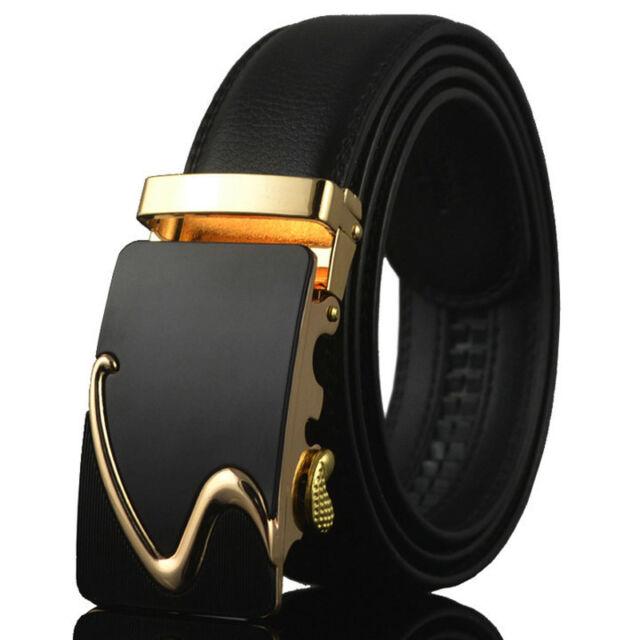 HOT Luxury Mens Black PU Casual Waistband Waist Strap Belts Automatic No Buckle