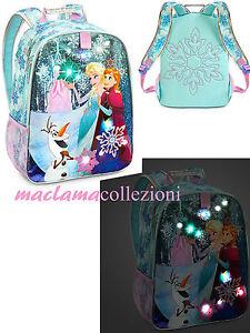 fe1dff3004c563 Caricamento dell'immagine in corso ZAINO-FROZEN-CON-LUCI-scuola-Elsa-Anna -Disney-