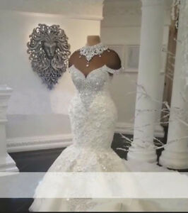 Details about Luxury Dubai Arabic Mermaid Wedding Dresses Plus Size Beading  Bridal Gown Custom