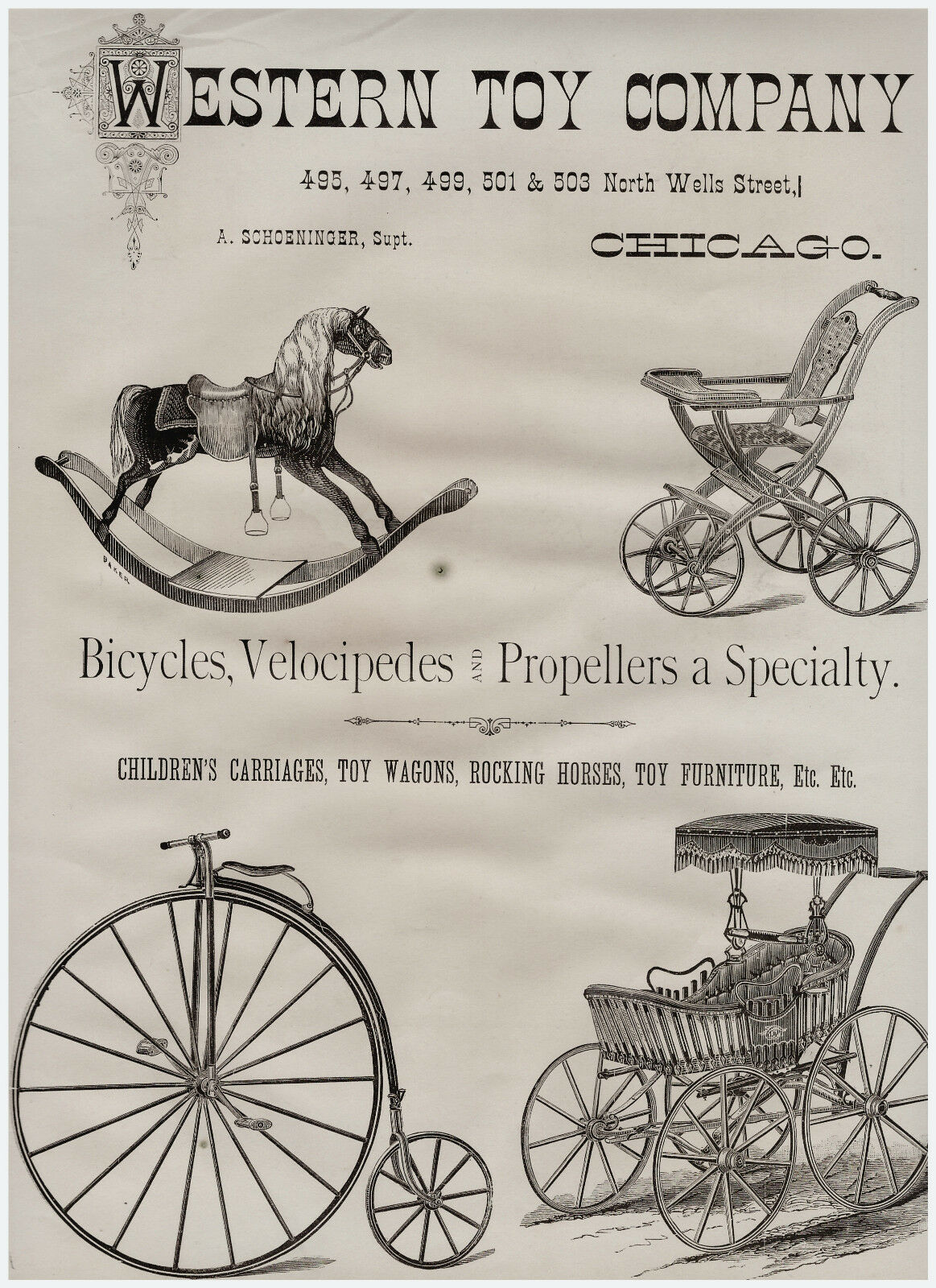 Super Western Toy Company 1879 Lg Publicidad-Bicicleta velocípedo velocípedo velocípedo Etc  el precio más bajo