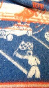 GENUINE-VINTAGE-1950-60-039-s-RACE-CARS-BLANKET-TEXTILES-Red-Blue-Gray-66x70-034-DORM