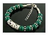 Beautiful Tibet Silver green jade bead bracelet