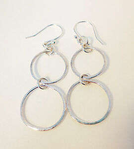 Sterling-silver-earrings-with-hand-made-double-ring-chain-dropper
