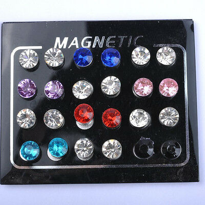 NO EAR HOLE CRYSTAL Ear Clip Strong MAGNETIC Iron MAGNET Ear Stud Unisex Earring