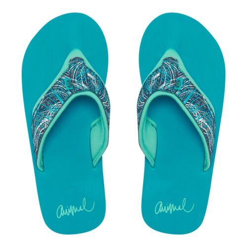 ANIMAL WOMENS FLIP FLOPS.NEW SWISH UPPER AOP BLUE SOFT TOE POST THONGS 9S 7//L70